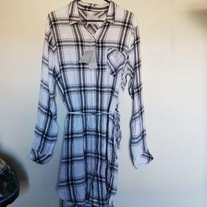 Rails , black/white plaid shirt dress XL